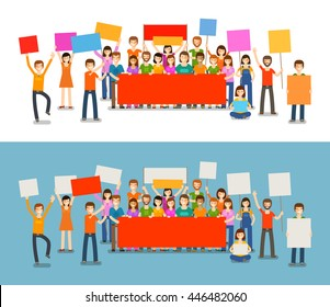 People with placards on demonstration. Holiday, celebration, festivity vector illustration