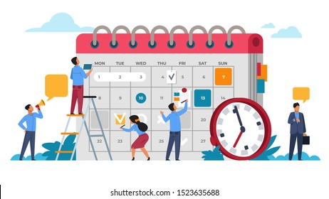 People planning concept. Entrepreneurship and calendar schedule planning with filling course campaign. Vector illustrations business meeting and events organizing process office working