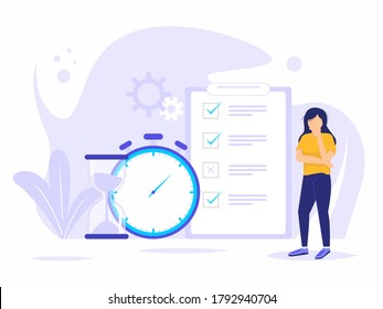 People planning concept. Entrepreneurship and planning a time schedule by filling in a time schedule. Vector illustration of woman thinking time for business and organizing office work processes.