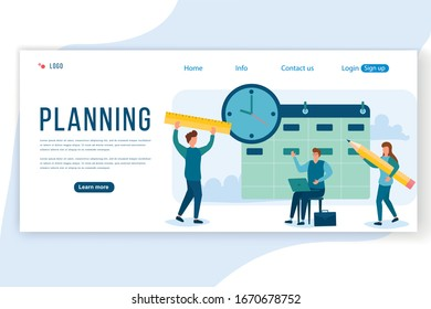 People planning concept. A group characters people are developing a plan. Project management and financial reporting strategy. Can use for web banner, infographics, hero images. Vector illustration.
