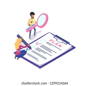 People planning and organizing working time vector. Man and woman with clipboard and magnifying glass tool achieving rapid results in business field