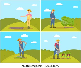 People planting and cultivating soil. Woman sowing seeds on land, man spreading compost. Farmer spraying bushes, watering aubergines eggplants vector