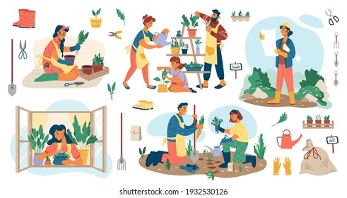 People planting flowers in garden, man and woman gardener s potting plants and veggies isolated flat cartoon set. Vector landscape designers and farming equipment. Spade, water can, flowerpots on sill