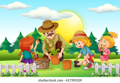People planting tree in the park illustration