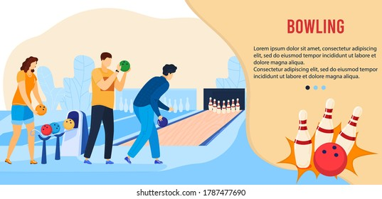 People play bowling game flat vector illustration. Cartoon active friend player characters playing in bowling alley, throw ball hitting, leisure or sport activity competition for gamers team banner