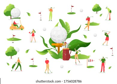 People play golf at white background, vector illustration. Man woman character, sport outdoor activity. Professional player with putter, little ball, golf cart near hole with bright flag.