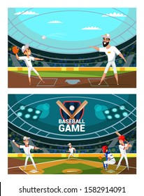 People playing baseball vector illustrations set. Cheerful players, professional team in uniform cartoon characters. Adult man and child throwing ball. Softball championship, competitive game