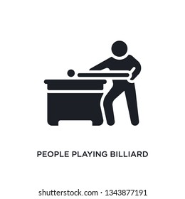 people playing billiard isolated icon. simple element illustration from recreational games concept icons. people playing billiard editable logo sign symbol design on white background. can be use for