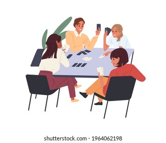 People playing board game at office desk. Team building and informal job entertainment concept. Colleagues and corporate boardgames. Colored flat vector illustration isolated on white background