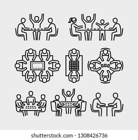People playing board games vector icons
