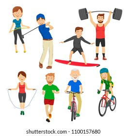 People playing different sports, golf, surfboard, jump rope, runner, barbell, bicycle on white
