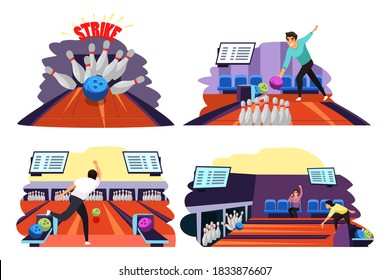 People playing game of bowling set. Man throwing ball on lane into tenpins and skittles, getting strike. Recreation and hobby vector illustration. Night entertainment, fun leisure activity.
