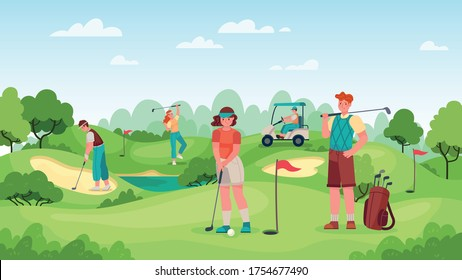 People playing golf. Golfers couple with golf clubs on green grass, bags with professional equipment and driving cart, sport game outdoor concept. Summer hobby and recreation vector illustration.