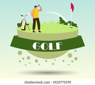 People playing golf. Golfers couple with golf clubs on green grass. Outdoor Fun Activity. Healthy Lifestyle.