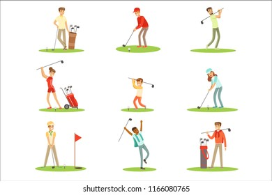 People Playing Golf On Grass, Striking The Ball With Club Set Of Smiling Characters Enjoying Gulf Game Outside In Summer