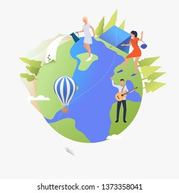 People playing guitar, camping and watering plants on Earth globe. Lifestyle, leisure, activity, sport concept. Vector illustration can be used for topics like vacation, summer, ecology