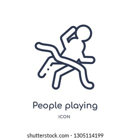 people playing limbo icon from recreational games outline collection. Thin line people playing limbo icon isolated on white background.