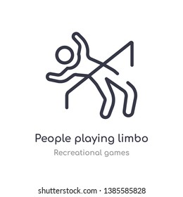 people playing limbo outline icon. isolated line vector illustration from recreational games collection. editable thin stroke people playing limbo icon on white background