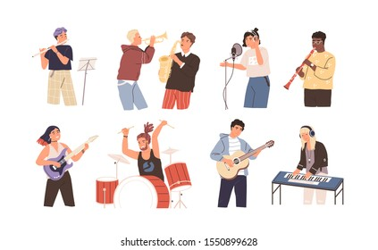 People playing musical instruments vector illustrations set. Young singer recording song with professional equipment cartoon character. Talented musicians, band members performance.