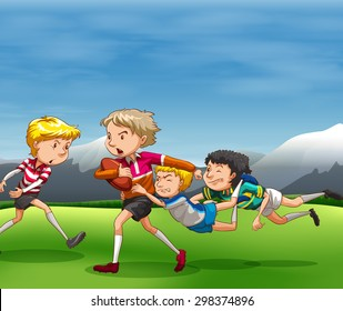 People playing rugby in the field
