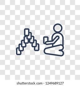 People playing Rummy icon icon. Trendy linear People playing Rummy logo concept on transparent background from Recreational games collection