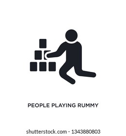 people playing rummy isolated icon. simple element illustration from recreational games concept icons. people playing rummy editable logo sign symbol design on white background. can be use for web