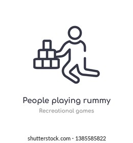 people playing rummy outline icon. isolated line vector illustration from recreational games collection. editable thin stroke people playing rummy icon on white background