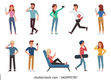 people playing smartphone character vector design no13