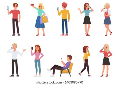 people playing smartphone character vector design no12