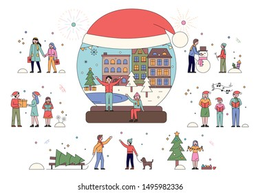 People playing snow outdoor, Merry Christmas greetings, kids recreation at winter. Xmas postcard decorated by fir-tree, snowing weather, Santa hat. Boy and girl singing carols, Xmas celebration vector