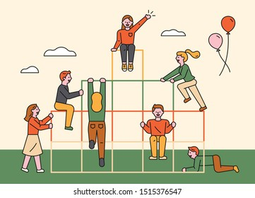 People are playing together in the jungle gym. Happy friends. flat design style minimal vector illustration.