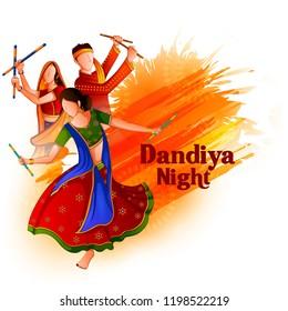 People playing traditional folk dance Garba on Dandiya night celebrating Navratri during Dussehra. Vector illustration