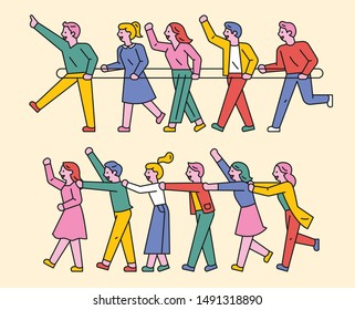 People are playing trains by connecting each other with strings. People are holding trains to each other's shoulders. flat design style minimal vector illustration.