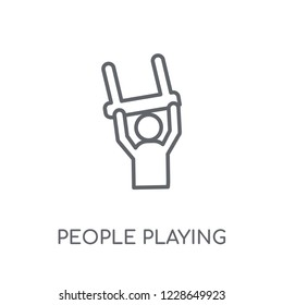 People playing Trapeze icon linear icon. Modern outline People playing Trapeze logo concept on white background from Recreational games collection.