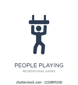 People playing Trapeze icon icon. Trendy flat vector People playing Trapeze icon on white background from Recreational games collection, vector illustration can be use for web and mobile, eps10