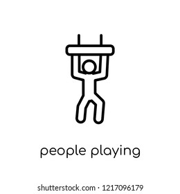 people playing trapeze icon. Trendy modern flat linear vector people playing trapeze icon on white background from thin line Recreational games collection, outline vector illustration