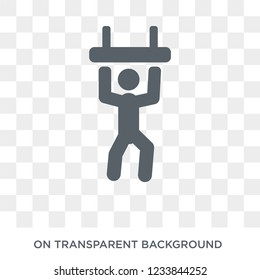 People playing Trapeze icon icon. Trendy flat vector People playing Trapeze icon on transparent background from Recreational games collection.