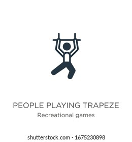 People playing trapeze icon vector. Trendy flat people playing trapeze icon from recreational games collection isolated on white background. Vector illustration can be used for web and mobile graphic