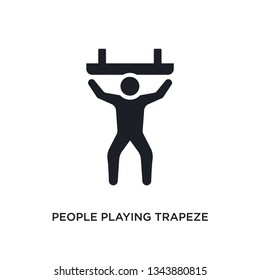 people playing trapeze isolated icon. simple element illustration from recreational games concept icons. people playing trapeze editable logo sign symbol design on white background. can be use for