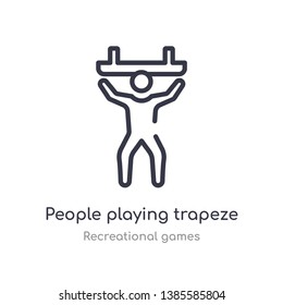 people playing trapeze outline icon. isolated line vector illustration from recreational games collection. editable thin stroke people playing trapeze icon on white background