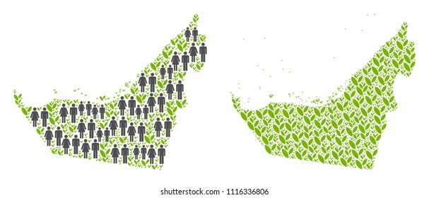 People population and eco Arab Emirates map. Vector pattern of Arab Emirates map done of random men and woman and agriculture elements in different sizes.
