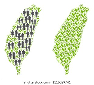 People population and environment Taiwan Island map. Vector composition of Taiwan Island map formed of randomized men and woman and grass elements in variable sizes.