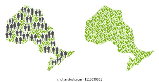 People population and flora plants Ontario Province map. Vector concept of Ontario Province map created of scattered lady and gentleman and agriculture items in various sizes.