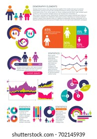 People population vector infographics with business charts, diagrams and man woman icons. Global economic concept. People population and demography chart visualization illustration