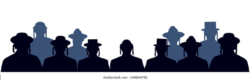 People portrait Israelite. Jewish head profile avatar icons. Crowd of people of Jewish nationality. Audience public auditory. Silhouette vector set