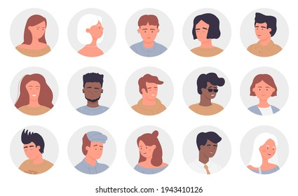 People portrait round avatars set, multinational young and old man woman face userpics