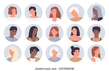 People portrait round avatars vector illustration set. Cartoon young and old man woman face userpics, multinational community, user customer characters smiling and laughing, winking isolated on white