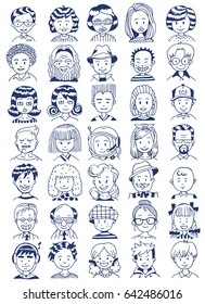 People Portrait Set. Collection of Various Men and Women Faces. Hand Drawn Line Art Cartoon Vector illustration.