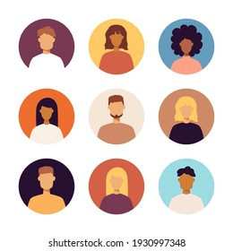 People Portraits Icons Set. Vector Illustration of Trendy Circle Signs. Men and Women.