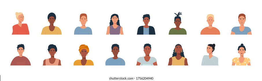 People portraits set - hand drawn flat style vector design concept illustration of young men and women, male and female faces and shoulders avatars. Flat style vector icons set. Ethnic minority, LGTB